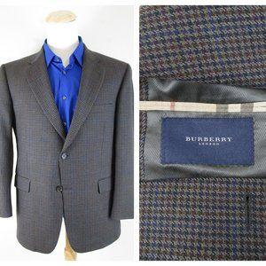 Burberry London Gray Blue Windowpane Sport Coat 44